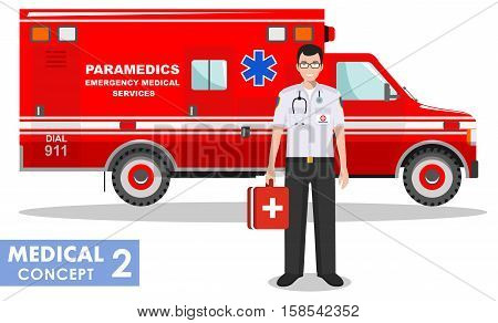 Detailed illustration of medical people and ambulance car in flat style on white background.
