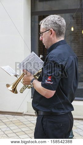Amboise, France - June 2016: Musician before a performance