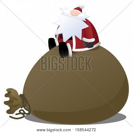 Cartoon Santa Claus character Christmas design element, vector illustration, horizontal, isolated, over white
