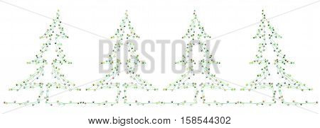 Group of small symbolic figures linked by lines fir trees shape 3d illustration isolated horizontal