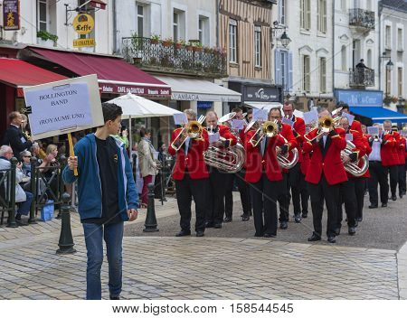 Amboise, France - June 2016: Bollington brass band at street contest in Amboise