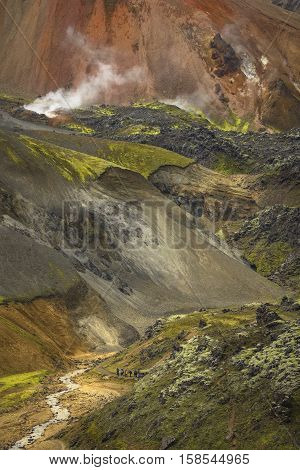 Landmannalaugar colorful mountains in Iceland summer time