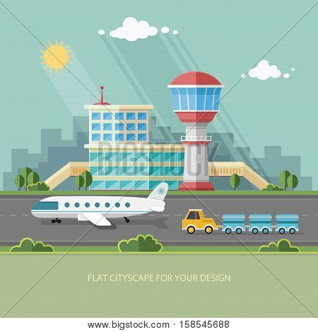 Airport landscape. Travel Lifestyle Concept of Planning a Summer Vacation Tourism and Journey Flat style vector illustration.