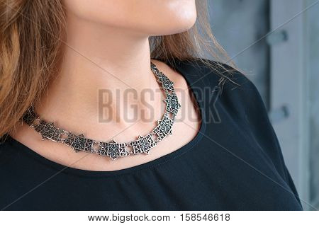 Necklace On Neck, Beautiful Necklace in focus.