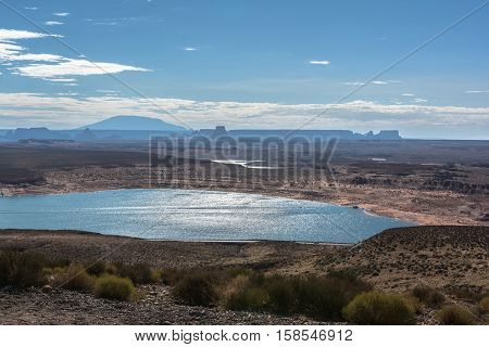 View of the blue water of Lake Powell, Arizona