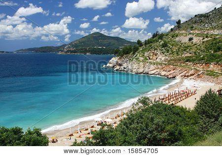 Summer view of Adriatic seacoast near Milocer, Montenegro poster