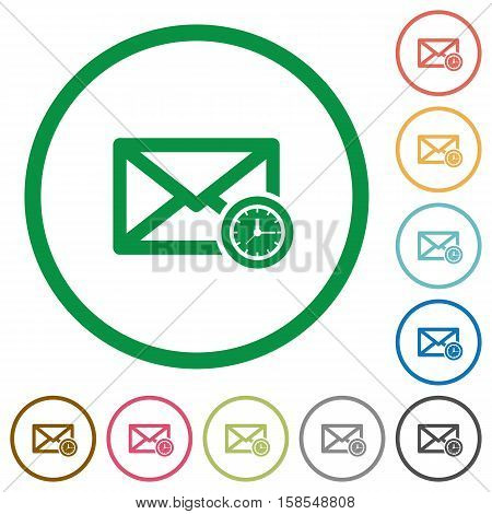 Queued mail flat color icons in round outlines