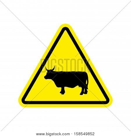 Cow Warning Sign Yellow. Farm Hazard Attention Symbol. Danger Road Sign Triangle Cattle