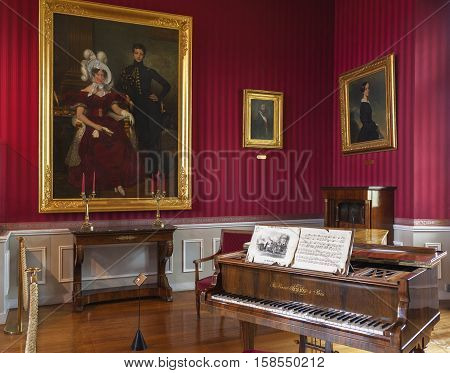 Amboise, France - May 2016: In the musical salon in the castle