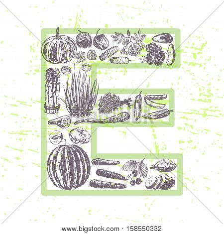 ink hand drawn fruits and vegetables that contain vitamin E