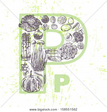 ink hand drawn fruits and vegetables that contain vitamin PP