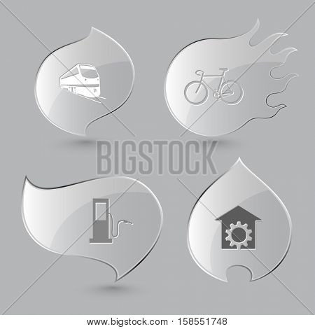 4 images: train, bicycle, fueling station, repair shop. Transport set. Glass buttons on gray background. Fire theme. Vector icons.