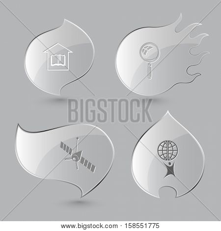 4 images: library, magnifying glass, spaceship, little man with globe. Science set. Glass buttons on gray background. Fire theme. Vector icons.