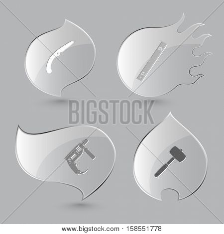 4 images: hand saw, spirit level, electric drill, mallet. Industrial tools set. Glass buttons on gray background. Fire theme. Vector icons.