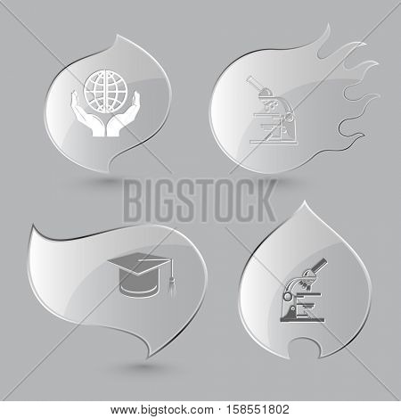 4 images: protection world, lab microscope, graduation cap. Science set. Glass buttons on gray background. Fire theme. Vector icons.