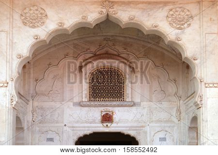 JAIPUR, INDIA - FEBRUARY 16: Architectural detail in Jaipur City Palace, Rajasthan, India. Palace was the seat of the Maharaja of Jaipur, the head of the Kachwaha Rajput clan, on February 16, 2016.