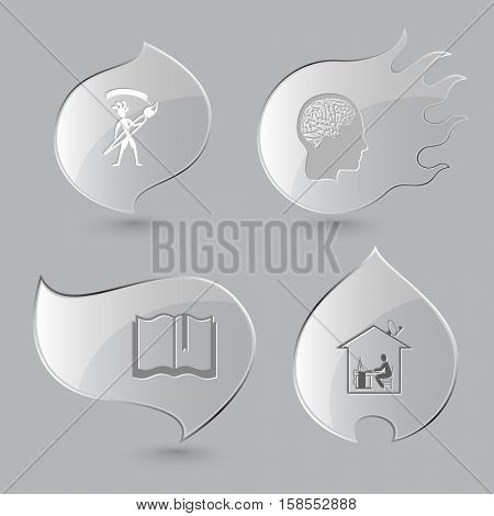 4 images: ethnic little man with brush, human brain, book, home work. Education set. Glass buttons on gray background. Fire theme. Vector icons.
