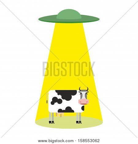 Ufo And Cow. Aliens Abduct Cattle. Frisbee And Farm Animals