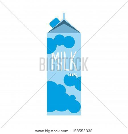 Milk Pack Isolated.  Dairy Package On White Background. Milky Packet Box