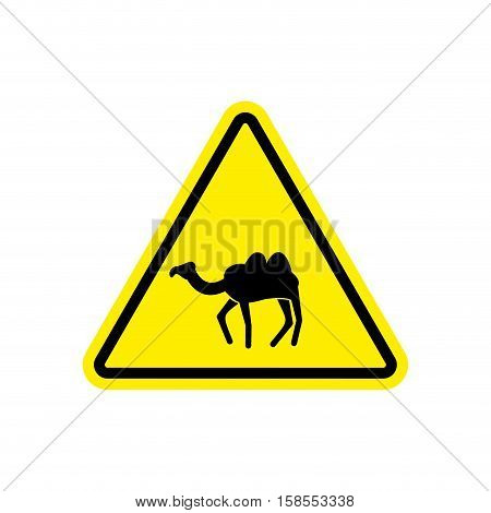 Camel Warning Sign Yellow. Goof Hazard Attention Symbol. Danger Road Sign Triangle Desert Animal