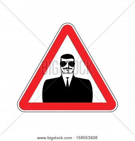 Spy Warning Sign Red. Secret Agent Hazard Attention Symbol. Danger Road Sign Triangle Snoop