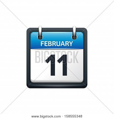 February 11. Calendar icon.Vector illustration, flat style.Month and date.Sunday, Monday, Tuesday, Wednesday, Thursday, Friday, Saturday.Week, weekend, red letter day. 2017, 2018 year.Holidays.