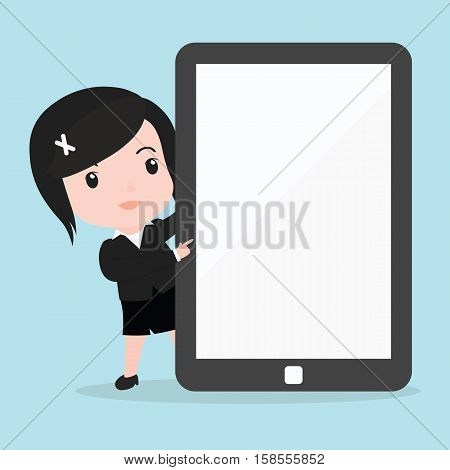 Business Woman Pointing To Screen Of A Tablet
