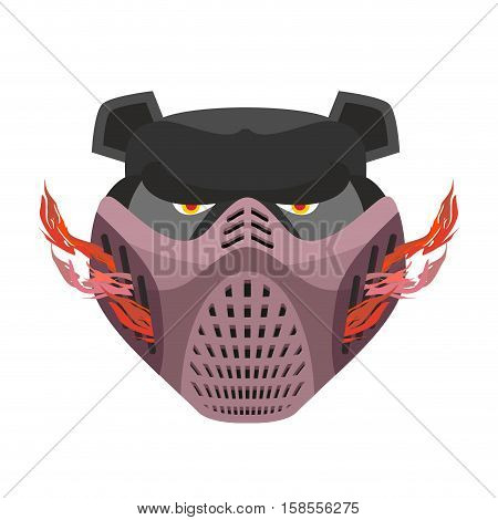 Angry Bear In Protective Mask. Aggressive Grizzly Head. Wild Animal Muzzle Isolated. Forest Predator