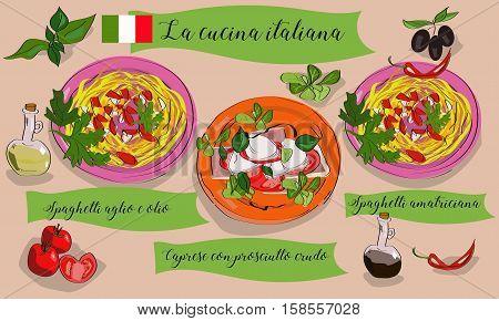 Vetcor Menu Of Italian Dishes. Spaghetti Aglio Con Olio, Caprese Con Prosciutto Crudo, Spaghetti Ama