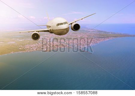 passenger plane flying from Fiumicino - Leonardo da Vinci International Airport rome italy