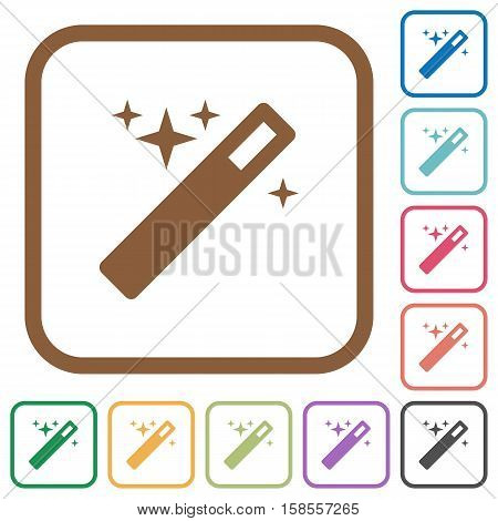 Magic wand simple icons in color rounded square frames on white background