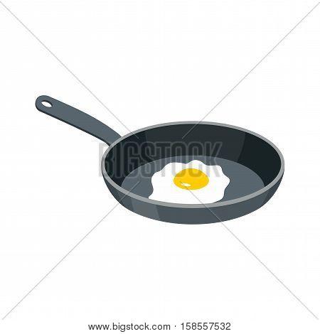 Omelette In Frying Pan. Fried Egg For Breakfast