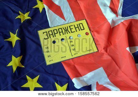 EU and British Flag with Contaminated (RU) sign