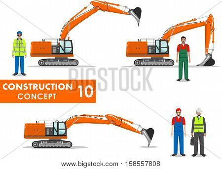 Detailed illustration of workman engineer businessman and excavator in flat style on white background.