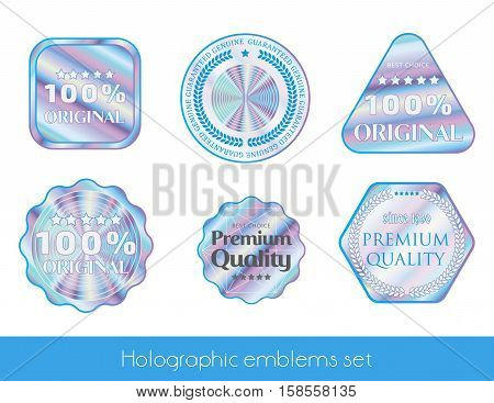 Holographic set shine shapes illustration sticker quality emblem