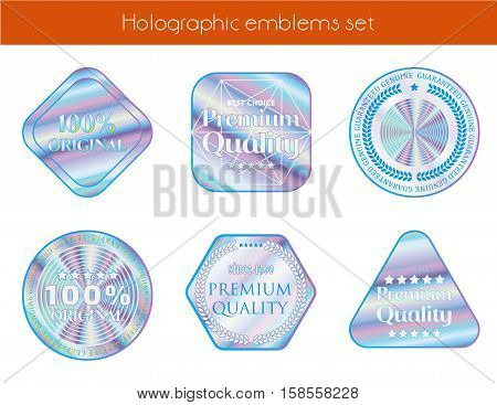 Holographic set geometric shapes illustration sticker quality emblem