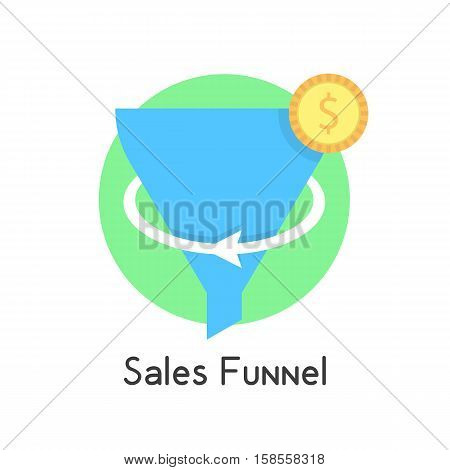 simple sales funnel in green circle with coin. concept of social network, e-commerce, plan, economy, stratagem. isolated on white background. flat style trend modern logo design vector illustration