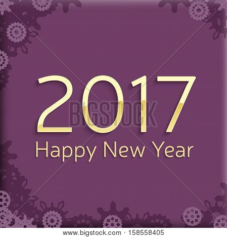 digital happy new year 2017 text design. vector greeting illustration with golden numbers and abstract snowflakes. happy new year 2017 vector background design.