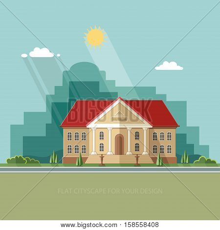 Archeological museum of antiquity and natural science exposition ancient civilizations. Flat style vector illustration.