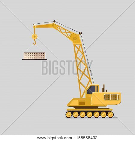 Lifting crane doing heavy lifting. Tower and harbor lifters. Flat style vector icons.