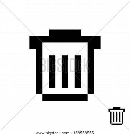 black pixelart trash can. concept of protection, wastebasket, conservation, refuse bin, delete button, supplies. isolated on white background. 8 bit style modern logotype design vector illustration
