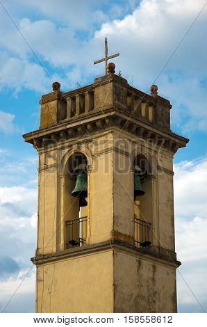 Ancient Bell Tower With Bronze Bells