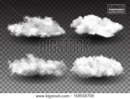 Set of Fluffy white clouds. Realistic vector design elements. smoke effect on isolated transparent background. Vector illustration.