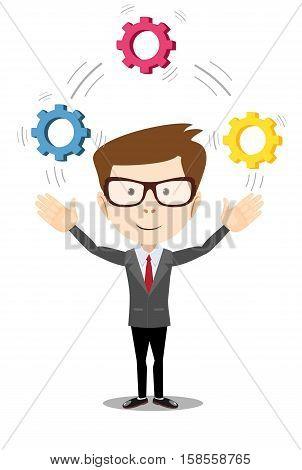 Vector illustration of a cartoon businessman. Man juggling with cog wheels, symbolizing strategic thinking, creativity.