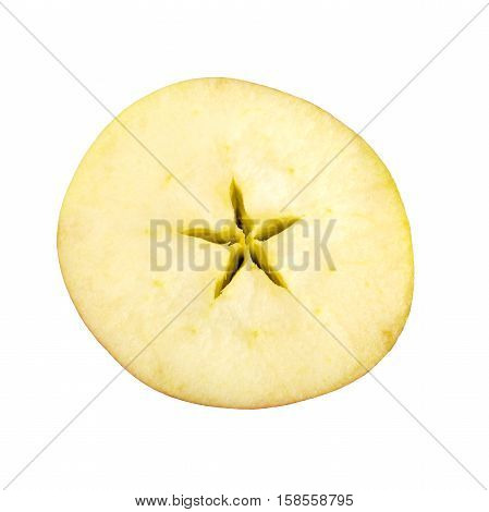 Christmas motive. Cross section of apple isolated on white background