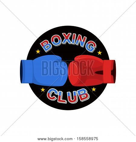 Boxing Emblem. Gred And Blue Loves. Logo For Sports Team And Club. Combat Badge For Athletes