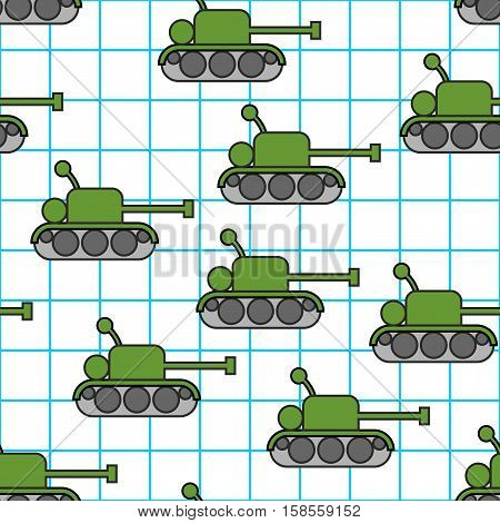 Tank Childs Drawing In Notebook Seamless Pattern. 23 February Background.  Fighting War Machine Text