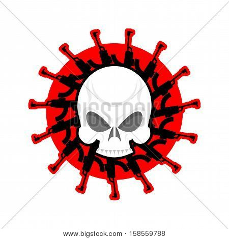 Skull And Guns. Head Of Skeleton And Rifles. Military Emblem. Army Logo. War Badge