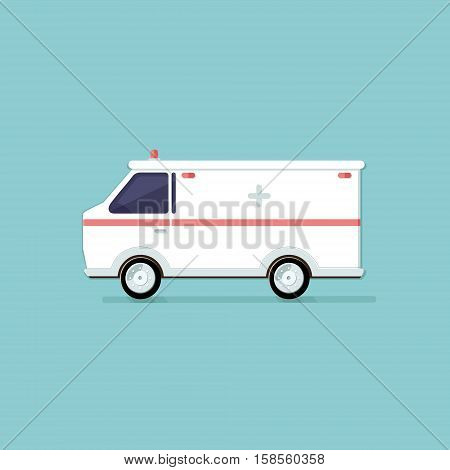 Ambulance on a light background. illustration. Flat style vector icons.