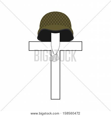 Grave Of Soldier. Cross And Military Helmet. Soldier Badge. Patriotic Memorial Illustration